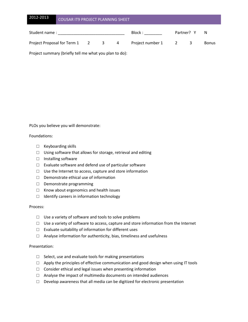 cousar it9 project planning sheet