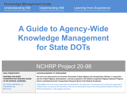 What is Knowledge Management? - Transportation Research Board