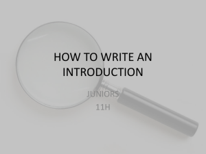 How to write an intro