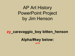 Art History PowerPoint Project Artist List
