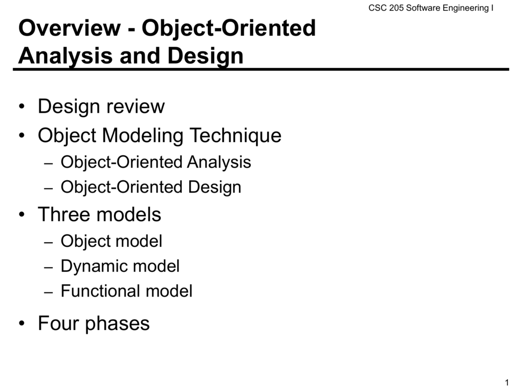 Overview Object Oriented Analysis And Design