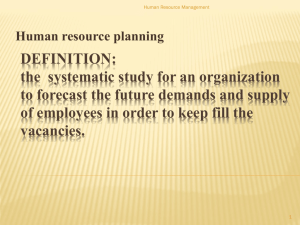 1) Forecasting the Demand for Human Resources