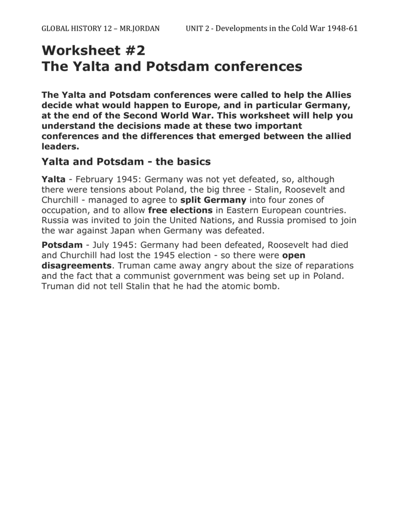 Worksheet #2 – The Yalta and Potsdam conferences