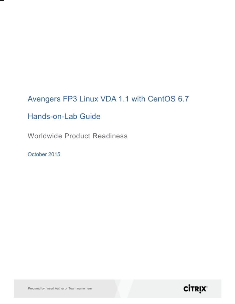 Linux VDA on Centos Lab Guide V2