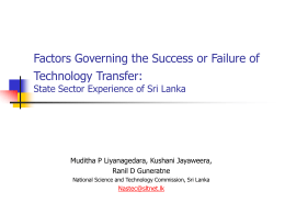 Factors Governing the Success or Failure of Technology Transfer