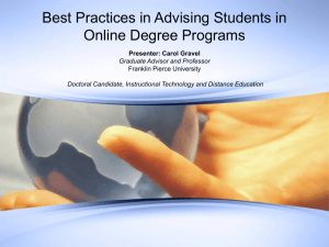 Best Practices in Advising Students in Online Degree Programs