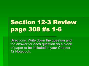 Chapter 12 Section Review 12