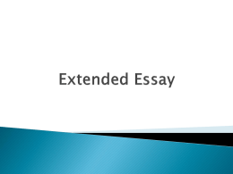 Extended Essay Intro PP