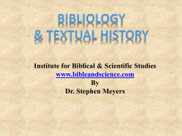 Bibles. - Institute for Biblical and Scientific Studies