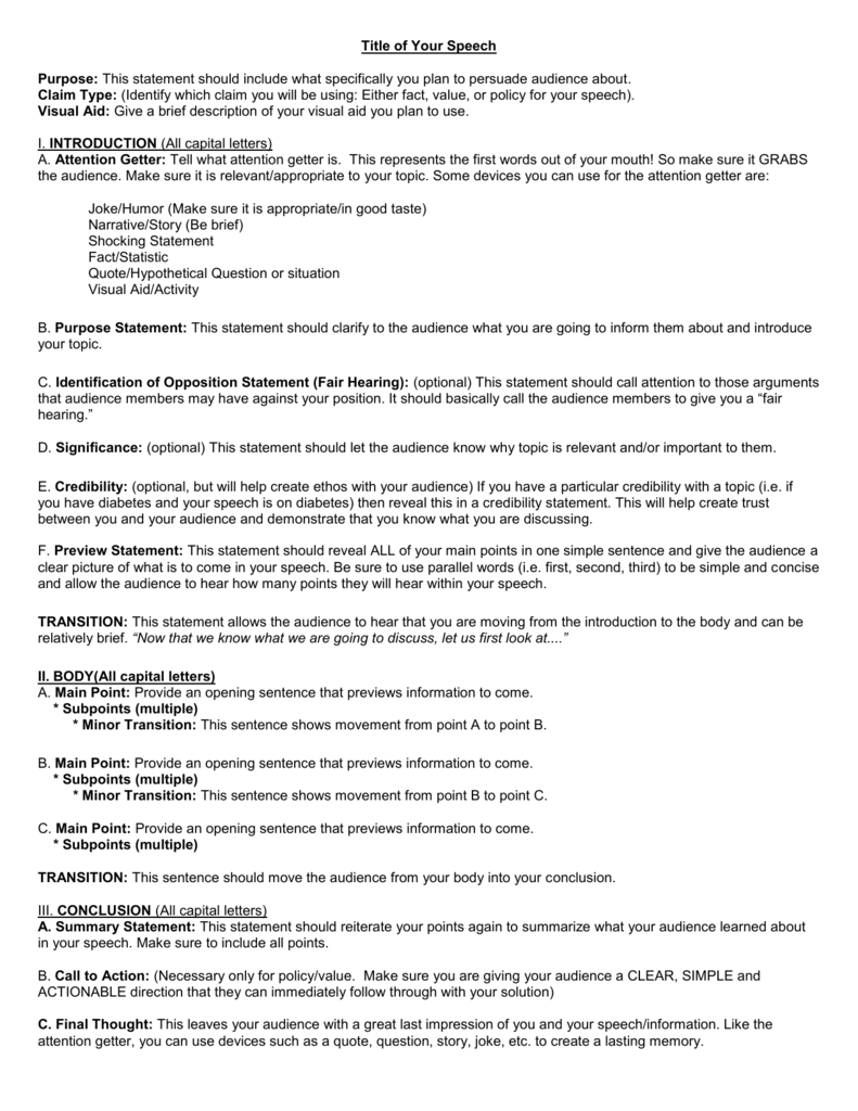 Cómo descargar Persuasive Speech Outline Template/Guidelines