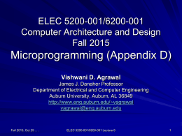 Lecture 8: Microprogramming (Appendix D)