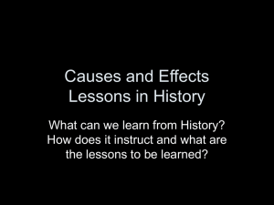 Causes and Effects Lessons in History