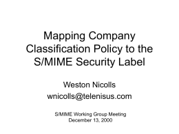 Mapping Company Classification Policy to the S/MIME Security Label