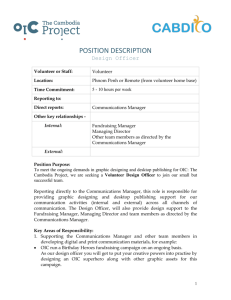 POSITION DESCRIPTION Design Officer Volunteer or Staff