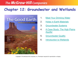 Chapter 12: Groundwater and Wetlands