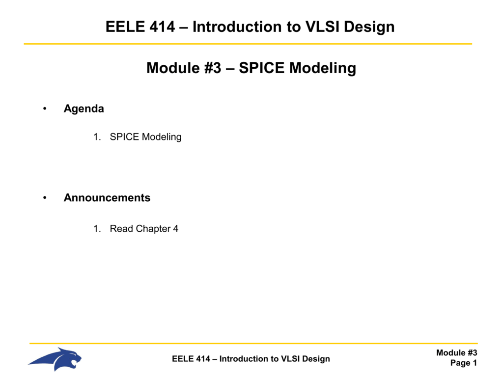 Ee414 Lecture Notes Electronic Circuit Design Software Spice