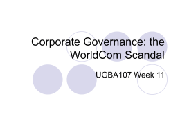 Corporate Governance: the Worldcom Scandal