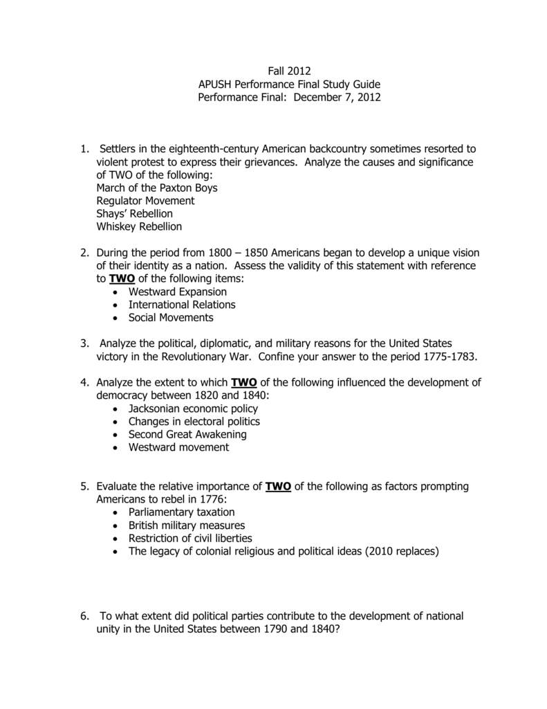 apush fall exam guide The ap physics 1 exam is a college-level exam administered every year in may upon the completion of an advanced placement physics 1 course taken at your high school if you score high enough, your ap physics score could earn you college credit check out our ap physics 1 guide for the essential info.