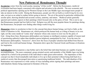 New Patterns of Renaissance Thought Secularism