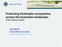 protecting freshwater ecosystems within the