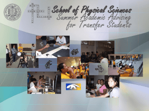 Transfer Power Point 2015 - School of Physical Sciences