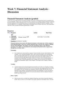 Week 7: Financial Statement Analysis - Discussion