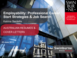 Resumes and cover letters - Swinburne University of Technology