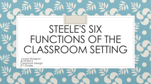 Steele's Six Functions of the Classroom Setting