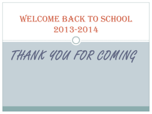 Welcome Back to School 2012-2013