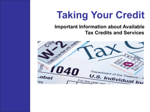 Tax credit presentation for disabled and disabled service community