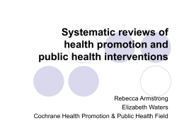 Systematic reviews - Cochrane Public Health