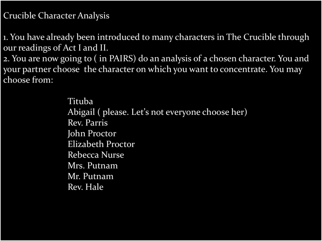 character analysis of reverend parris Reverend john hale is the idealistic witch hunter in ' character study of reverend parris in the crucible a review of arthur miller's timeless play the crucible.