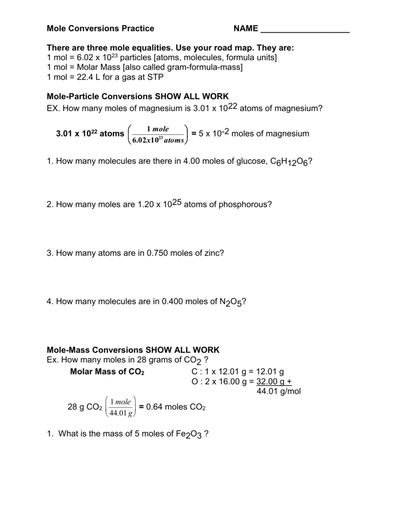 Mole Conversions Worksheet – Gram Formula Mass Worksheet