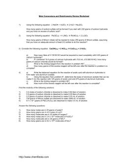 Stoichiometry Practice Worksheet