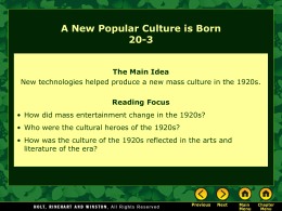 Lesson 20-3: A New Popular Culture Is Born