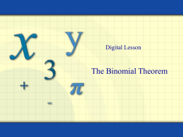 9.5 The Binomial Theorem
