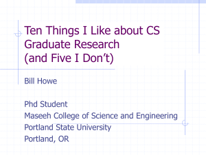 Ten Things I Like About CS Graduate Research