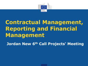 Contractual Management, Reporting and Financial Management