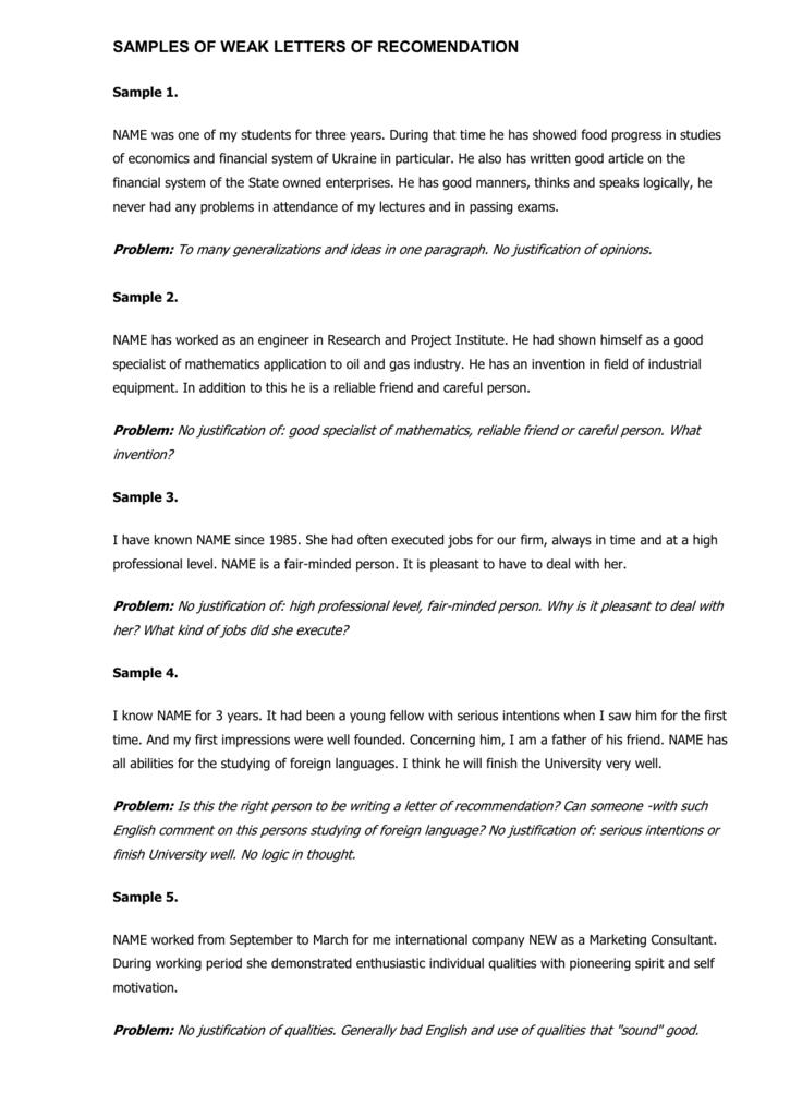 Justification Letter Sample.Samples Of Weak Letters Of Recomendation Sample 1
