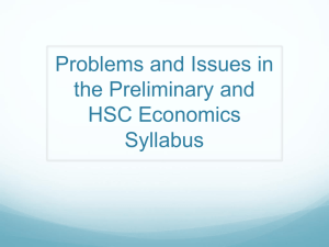 Problems and Issues in the Preliminary and HSC Economics Syllabus