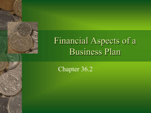 Financial Aspects of a Business Plan