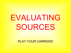 Evaluating Sources PPT CARRDSS POWERPOINT