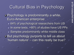Cultural Bias in Psychology