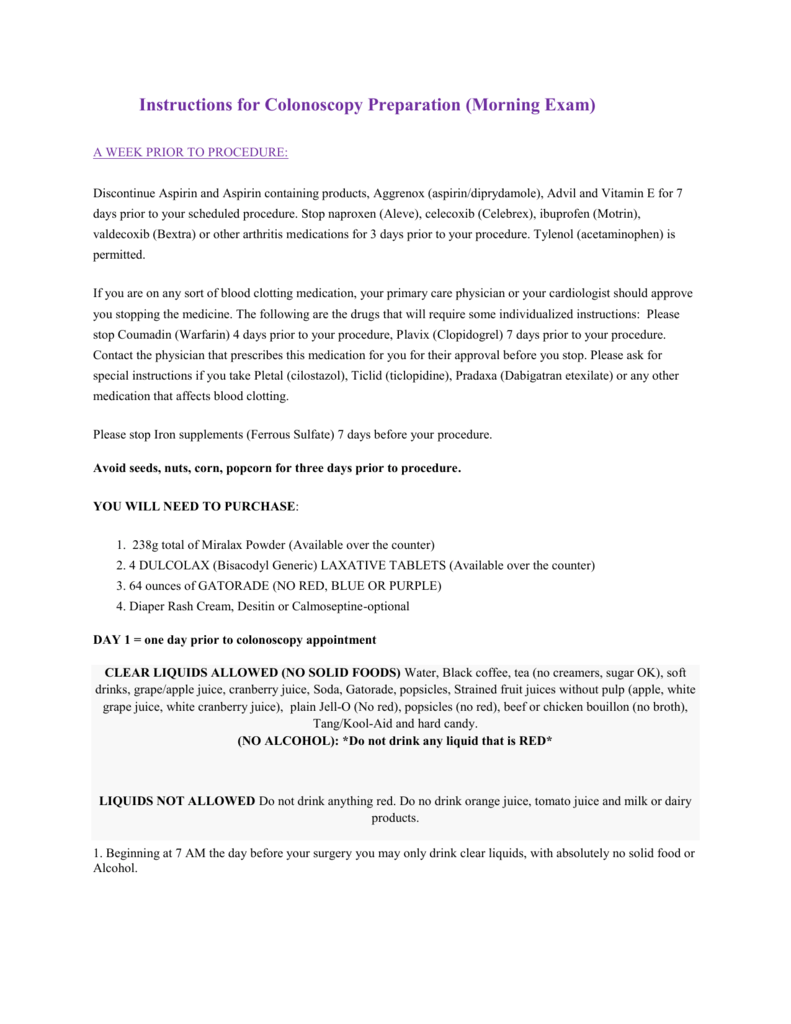 Instructions for Colonoscopy Preparation