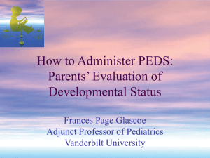How to Administer PEDS: Parents' Evaluation of Developmental