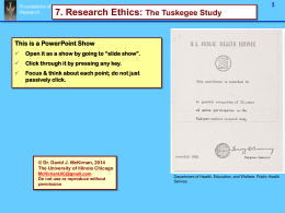 Research Ethics 1, The Tuskegee Study