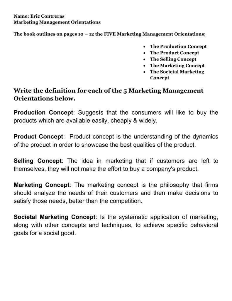 five different marketing management concepts reliance 606 water heater 1 five different marketing management