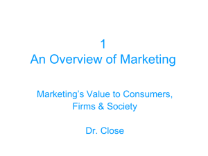Chapter 1 An Overview of Marketing