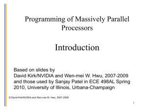 Introduction: Programming of Massively Parallel Processors