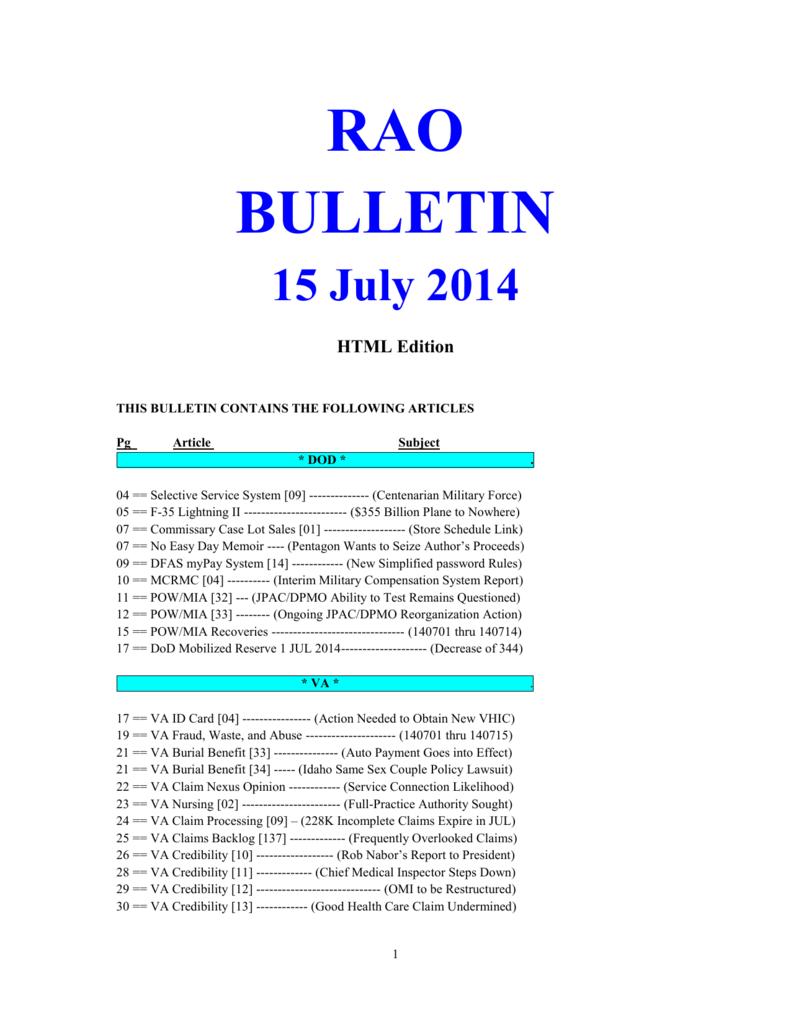 Bulletin 140715 (HTML Edition)